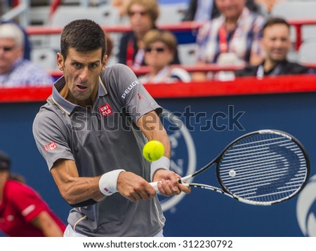 MONTREAL - AUGUST 13: Novak Djokovic of Serbia during his third round match win over Jack Sock of USA at the 2015 Rogers Cup on August 13, 2015 in Montreal, Canada