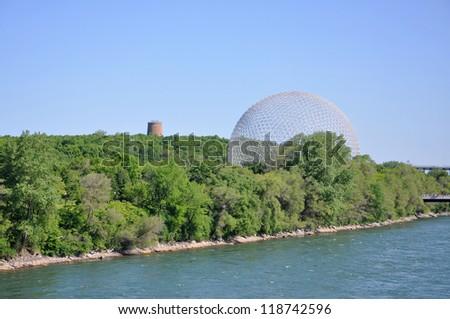 Montreal Biosphere on Saint Helen's Island in Montreal, Quebec, Canada - stock photo