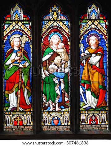 MONTREAL CANADA AUGUST 14 2015 : Stained gals window, Christ Church Cathedral is an Anglican Gothic Revival cathedral in Montreal, Quebec, Canada, the seat of the Anglican Diocese of Montreal.  - stock photo
