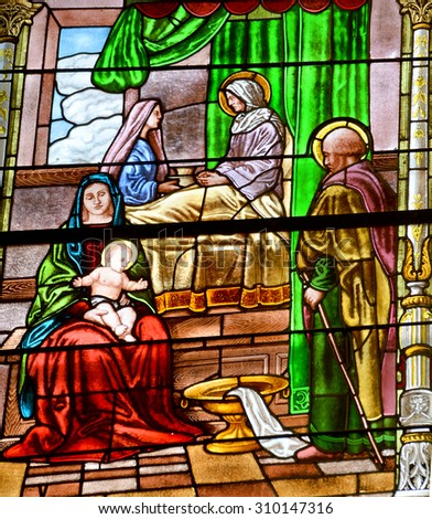 MONTREAL CANADA AUGUST 22 2015:Stained glass window of Notre-Dame-de-Bon-Secours Chapel. One of the oldest churches in Montreal, it was built in 1771 over the ruins of an earlier chapel - stock photo