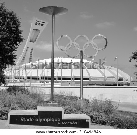 MONTREAL CANADA AUGUST 17 2015 The Montreal Olympic Stadium and tower. The tallest inclined tower in the world.Tour Olympique stands 175 meters tall and at a 45-degree angle - stock photo