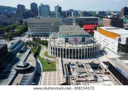MONTREAL, CANADA -18 AUGUST 2015- The Opera de Montreal (Montreal Opera) in the middle of Place des Arts, a major performing arts complex in the Quartier des Spectacles.