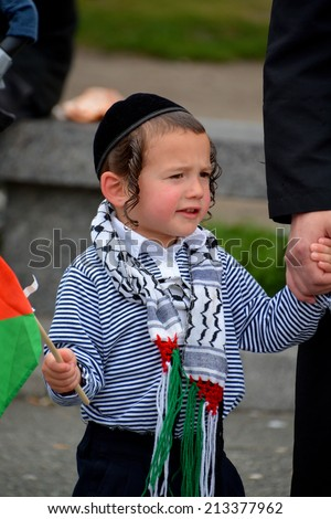 MONTREAL CANADA AUGUST 21:Unidentified people form jewish Hasidic Orthodox Judaism, participating in a rally to condemn the Israel occupation an bombing on Gaza On 08 21 2014 in Montreal Quebec Canada - stock photo