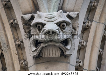 Montreal Canada Gargoyles In The Facade Of Old Catholic Church Downtown District