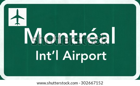 Montreal Canada International Airport Highway Sign 2D Illustration - stock photo