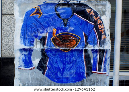 MONTREAL CANADA JANUARY 24: Atlanta Thrashers jersey in an ice block in front the Molson center of Montreal Canadians for the 57e All stars game on January 24 2009 in Montreal Canada