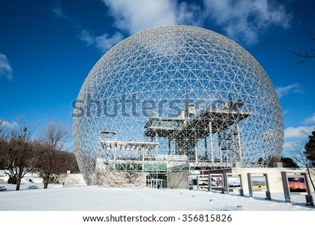 MONTREAL, CANADA - JANUARY 16th 2015: The Biosphere Museum, dedicated to environmental issues, is located in Parc Jean-Drapeau, and was designed by Buckminster Fuller. - stock photo