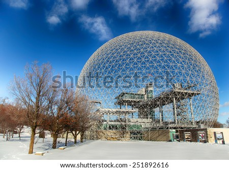 MONTREAL, CANADA - JANUARY 16, 2015: The Biosphere is a museum in Montreal dedicated to the environment. It was the pavilion of the United States during Universal exposition in 1967. - stock photo