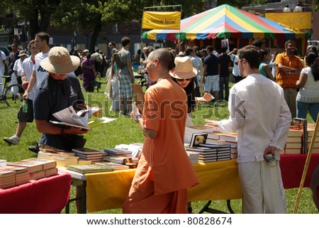 MONTREAL, CANADA - JULY 9: Festival Hare Krishna. Annual traditional festival of the religious organization Hare Krishna on July 9, 2011 in Montreal, Canada - stock photo