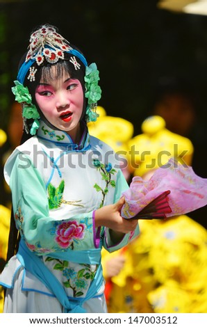 MONTREAL CANADA JULY 21: Unidentified child participating a the Chinese Culture Week  the largest event of its kind ever organized in the Montreal region on july 21 2013 in Montreal Canada - stock photo