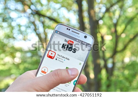 MONTREAL, CANADA - MAY 23, 2016 : Google Youtube Kids application on Samsung S7 screen. YouTube Kids app offers family friendly content and basic parental controls. - stock photo