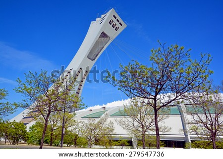 MONTREAL CANADA MAY 17 2015  The Montreal Olympic Stadium and tower. The tallest inclined tower in the world.Tour Olympique stands 175 meters tall and at a 45-degree angle - stock photo