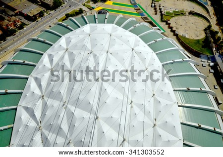 MONTREAL CANADA MAY 17 2015 The Montreal Olympic Stadium roof. The tallest inclined tower in the world.Tour Olympique stands 175 meters tall and at a 45-degree angle - stock photo