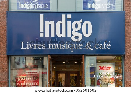 MONTREAL, CANADA â?? NOVEMBER 6, 2015: An Indigo bookstore. Indigo employs over 6,500 people and operates 97 stores across Canada. Indigo is a public company, traded on the TSX under the symbol IDG.