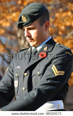 MONTREAL CANADA NOVEMBER 6 :Canadians soldier in uniform for the remembrance Day on November 6,  2011, Montreal, Canada.The day was dedicated by King George V on 7-11-19 as a day of remembrance.