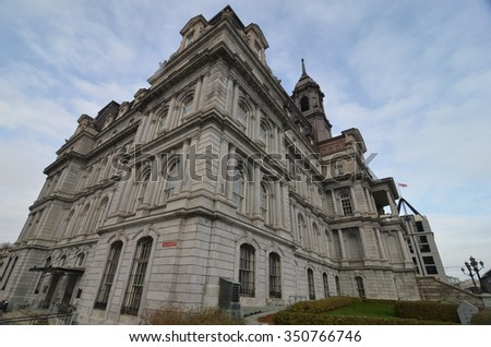 MONTREAL, CANADA - NOVEMBER 26, 2015: Montreal buildings, Montreal, Canada.  - stock photo