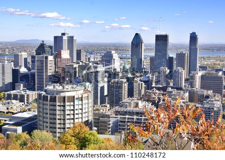 MONTREAL CANADA OCTOBER 12: Bird eye view of downtown Montreal on October 12 2010. Downtown Montreal is the central business district of Montreal, Quebec, Canada. - stock photo