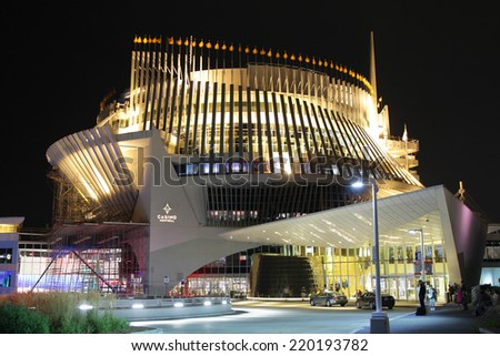 MONTREAL CANADA SEPT 28, 2014: Casino of Montreal, is the largest casino in Canada and located into the French pavillion from Expo67.  The casino opened October 9, 1993. - stock photo