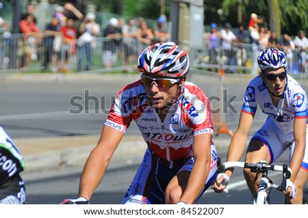 MONTREAL, CANADA-SEPTEMBER 11: An unidentified cyclists in action  in 2011 UCI cycling calendar | 2011 Grand Prix Cycliste de Montréal on September 11, 2011 in Montreal, Mount royal climb - stock photo