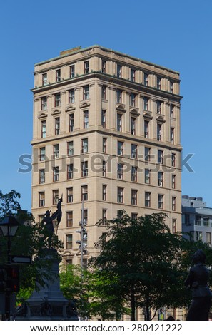 MONTREAL, CANADA - 17TH MAY 2015: A building along Rue Notre-Dame in Montreal during the day - stock photo