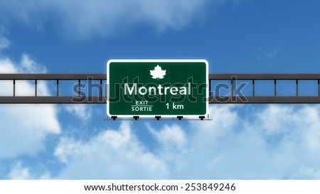 Montreal Canada Transcanada Highway Road Sign 3D Illustration - stock photo