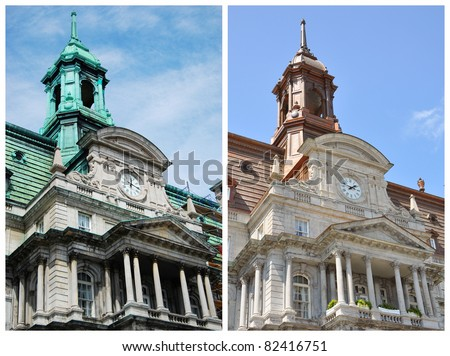 Montreal City Hall before and after restoration. Left green roof is before restoration in summer 2009. Right bronze roof is after restoration in summer 2011. - stock photo
