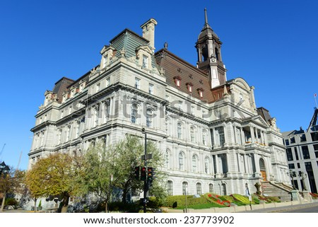 Montreal city hall is a French Empire style building in old town Montreal, Quebec, Canada - stock photo