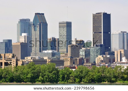 Montreal city skyline in financial district, Montreal, Quebec, Canada