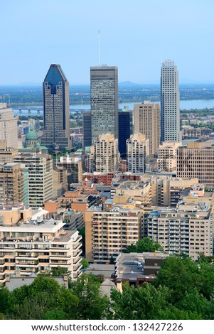 Montreal day view from Mont Royal with city skyline - stock photo
