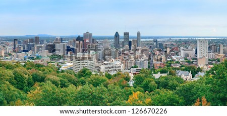 Montreal day view panorama from Mont Royal with city skyline - stock photo