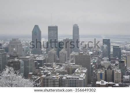 Montreal downtown in snow - stock photo