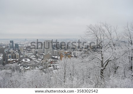 Montreal downtown in snow in Canada - stock photo