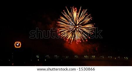 Montreal fireworks - stock photo