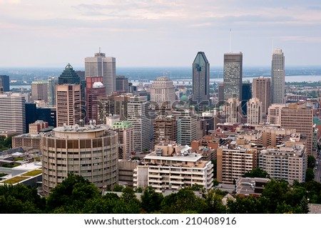 Montreal highrise -  view from Mount Royal at daytime - stock photo