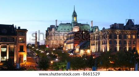Montreal Jacques Cartier Place at evening - stock photo