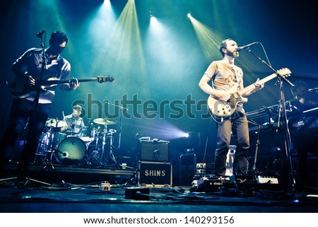 MONTREAL - MAY 23: The Shins are an American indie rock band from Albuquerque, New Mexico, formed in 1996. They were in concert May 23, 2013 in Montreal at the Metropolis. - stock photo