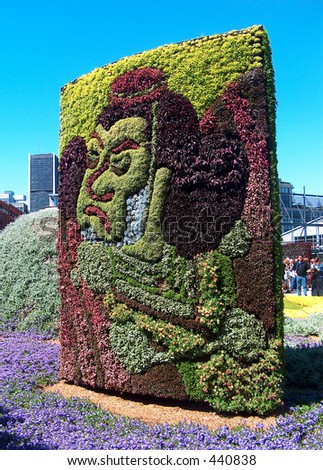 Montreal Mosaiculture 2003 Flower Sculptures Japanese Face - stock photo