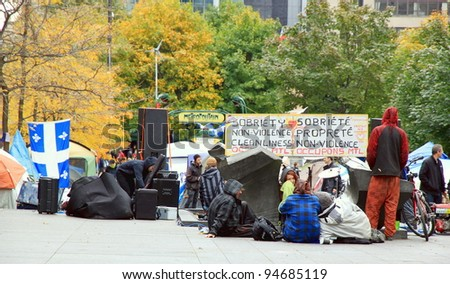 MONTREAL - OCTOBER 23: The Occupy Montreal camp on October 23, 2011 in Montreal, Canada. On October 15, 2011, the global Occupy movement arrived in Montreal on its first Global Day of Action.