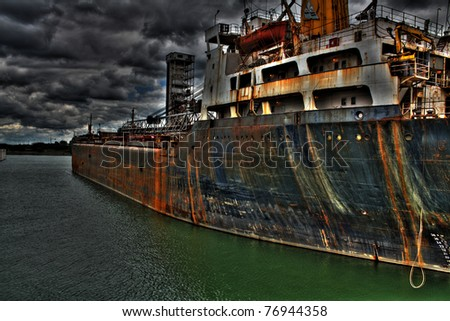 Montreal Old Port Rusted Container Ship - stock photo