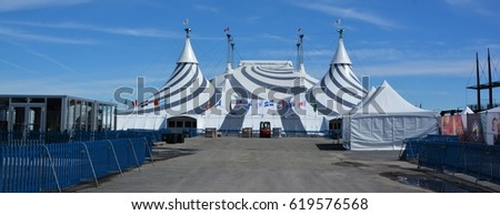 MONTREAL QUEBEC CANADA APRIL 9 2017 Cirque du Soleil black and white tent for new & Montreal Quebec Canada April 9 2017 Stock Photo 619576568 ...