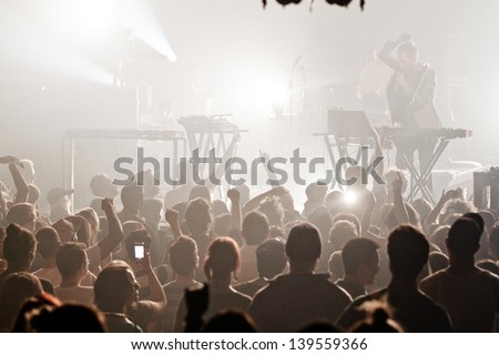 MONTREAL, QUEBEC/CANADA, MAY 9 2013: The presets,consisting of Julian Hamilton on vocals and keyboards and Kim Moyes on drums and keyboards, in concert in Montreal at the National. - stock photo