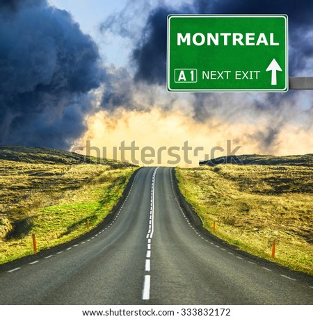 MONTREAL road sign against clear blue sky - stock photo