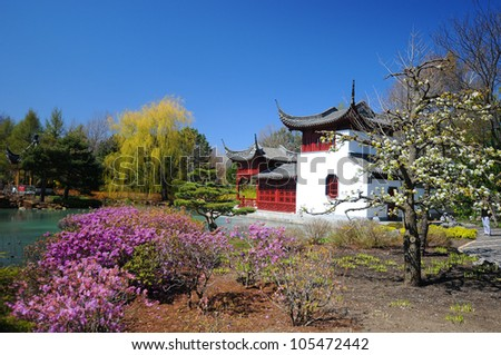 Montreal's chinese garden of the botanical garden in spring time, Quebec, Canada - stock photo