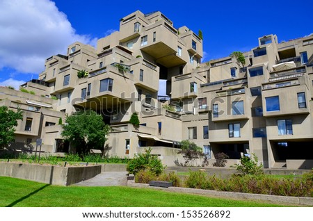 MONTREAL-SEPT. 08: A view of Habitat 67 on Sept 08, 2013 in Montreal, Quebec, CA. Habitat 67 is considered a landmark and one of the most recognizable and significant buildings in Montreal and Canada - stock photo