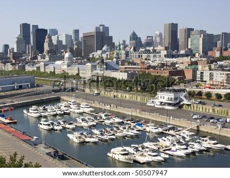 Montreal skyline, aerial view - stock photo