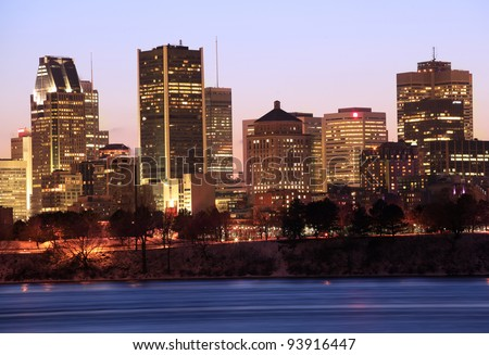 Montreal skyline at dusk, Canada - stock photo