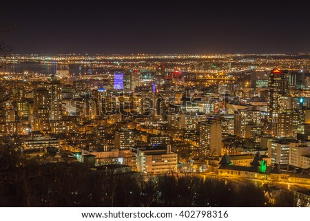 Montreal skyline at night. View from Mount-Royal. Canada.  - stock photo