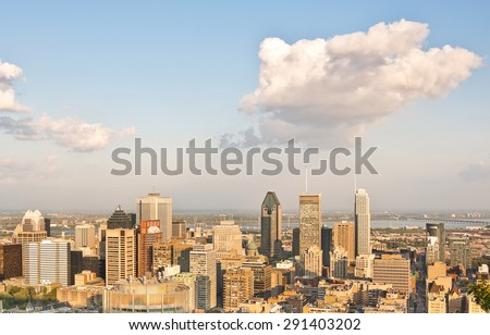 Montreal skyline at sunset in Quebec, Canada - stock photo