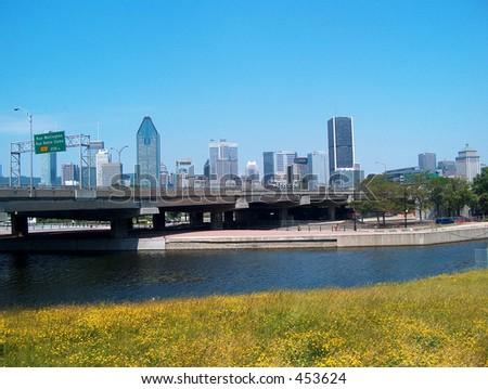Montreal Skyline Bridge - stock photo