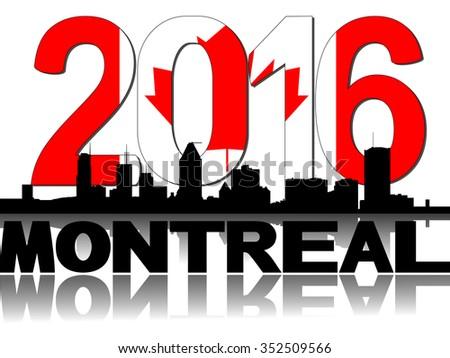 Montreal skyline Canadian flag 2016 text illustration - stock photo